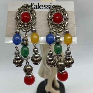 Contemporary dangle earrings colored/silver beads